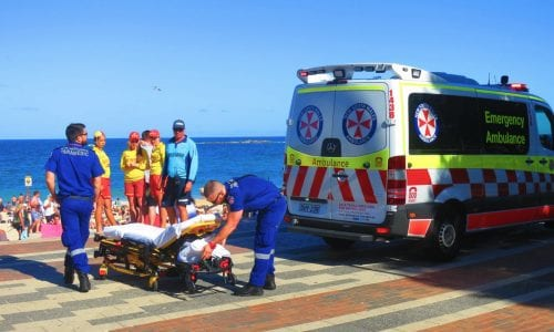 Ambulance at an Australian beach: ambulance cover in Australia